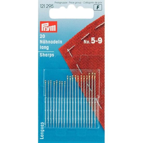 Иглы Prym 121295 для шитья длинные никелированные №5-9