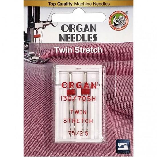 Игла двойная стрейч Organ Twin Stretch №75/2.5