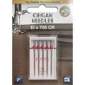 Иглы для оверлока Organ ELx705 CR PB №75 5 штук фото 1