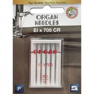 Иглы для оверлока Organ ELx705 CR PB №80 5 штук фото 1