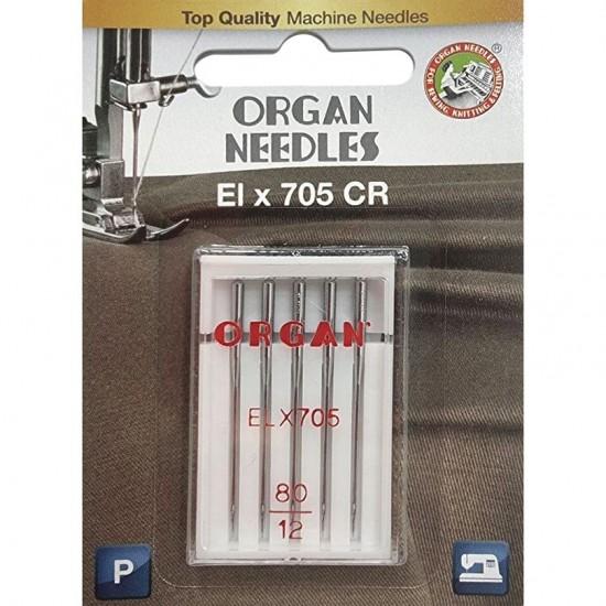 Иглы для оверлока Organ ELx705 CR PB №80 5 штук